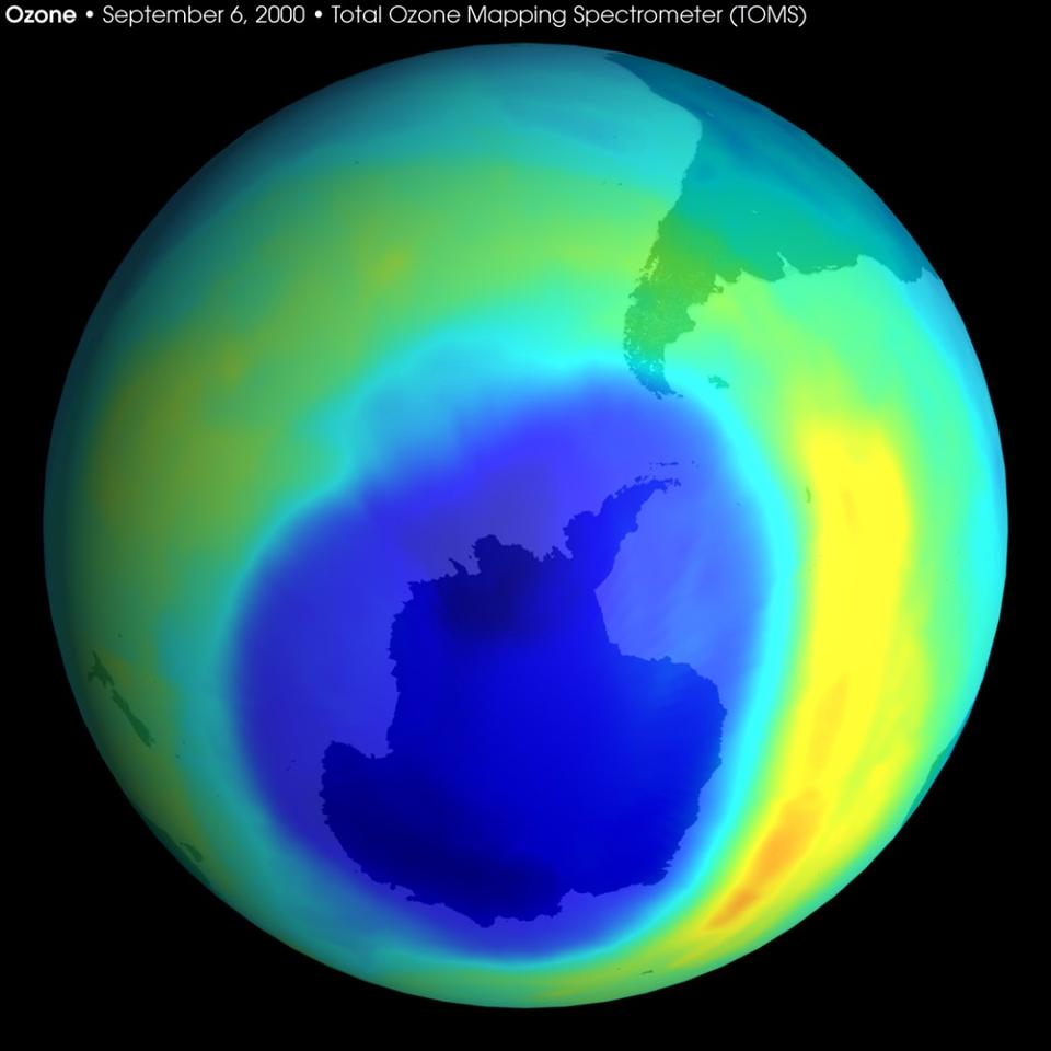 The researchers found that the hole has shrunk four million square km (1,545,000 sq mi) since 2000, the year when ozone depletion peaked