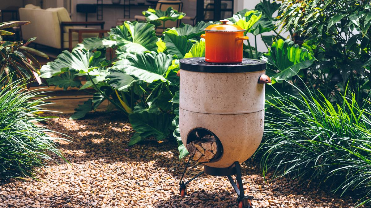 Rocket stove can be used as a barbecue, pizza oven or fire pit