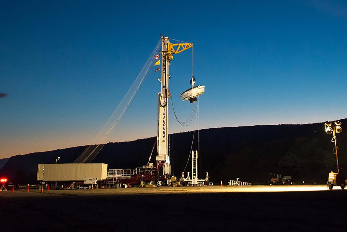 NASA's Low-Density Supersonic Decelerator (LDSD) hanging from its launch tower at US Navy's Pacific Missile Facility in Hawaii prior to ascending for its second test