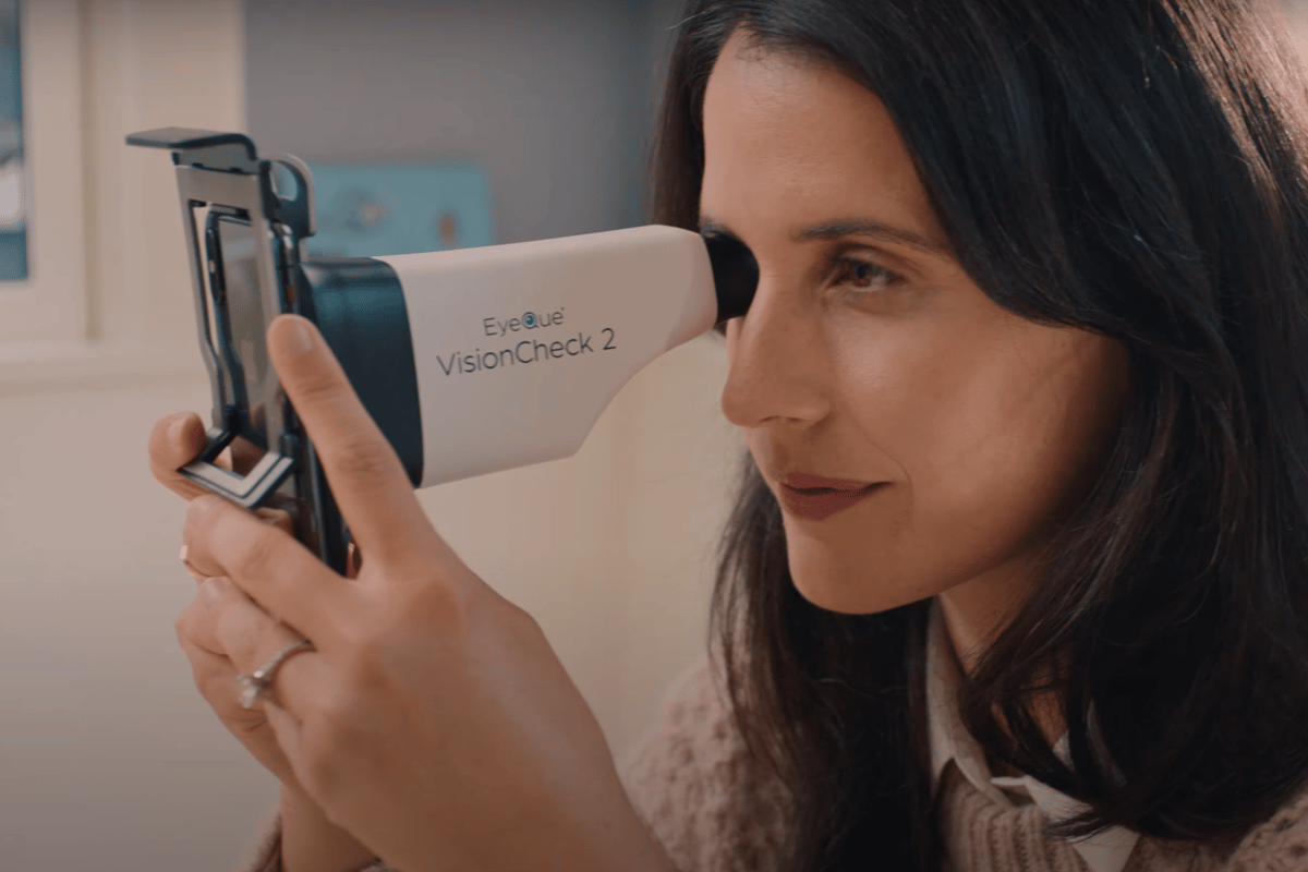The EyeQue VisionCheck 2 uses a smartphone attachment and mobile app to test for refractive error at home