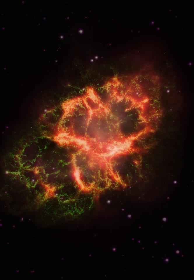Comparing the amount of phosphorous in the Crab Nebula (pictured) and the Cassiopeia A supernova remnant suggests the element may be rare, making it difficult for life to emerge