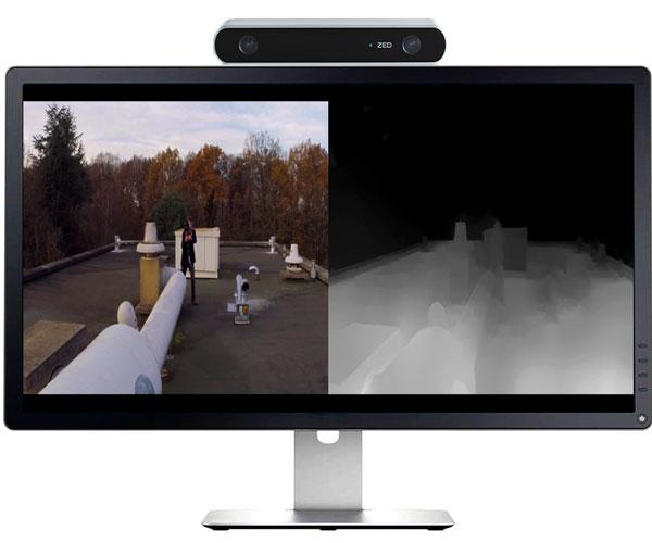 The ZED camera captures video from two cameras that mimic how the human eye sees in 3D