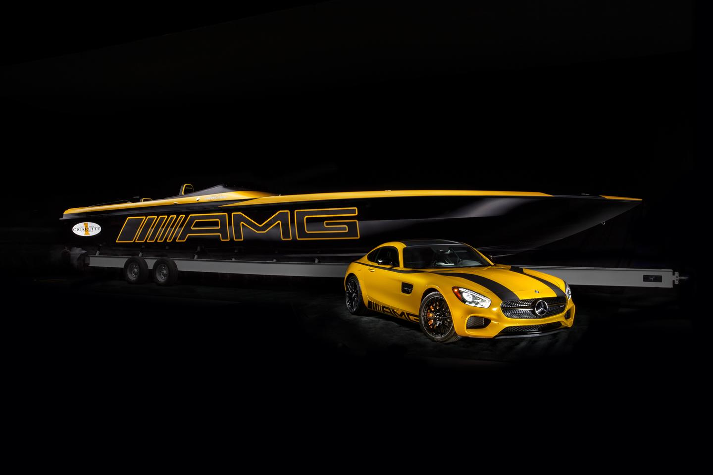 Mercedes and Cigarette present the 50 Marauder GT S and a specially painted GT S car to match
