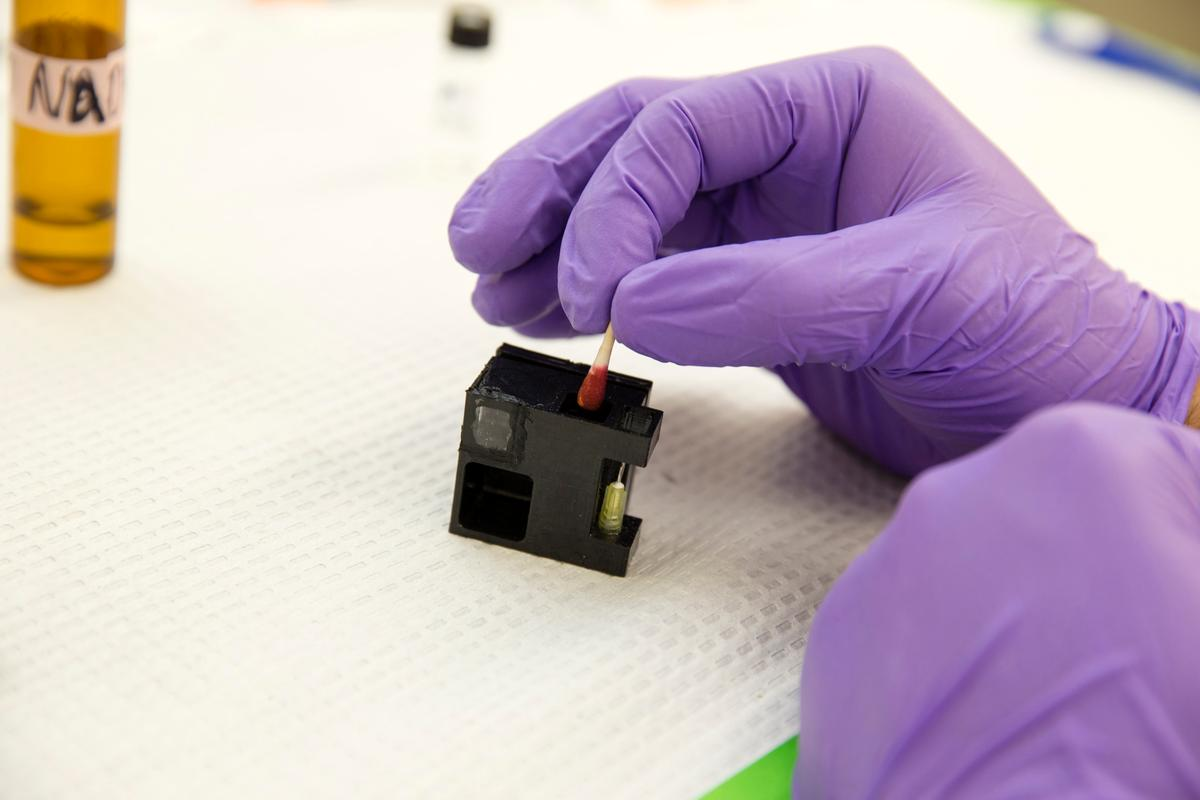 A swabbed blood sample is inserted in a cartridge, which is in turn placed within the main device (Photo: SDSU)