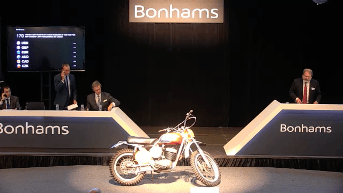 Themost expensive Husqvarna ever sold:The400 Cross ridden in 'On Any Sunday'