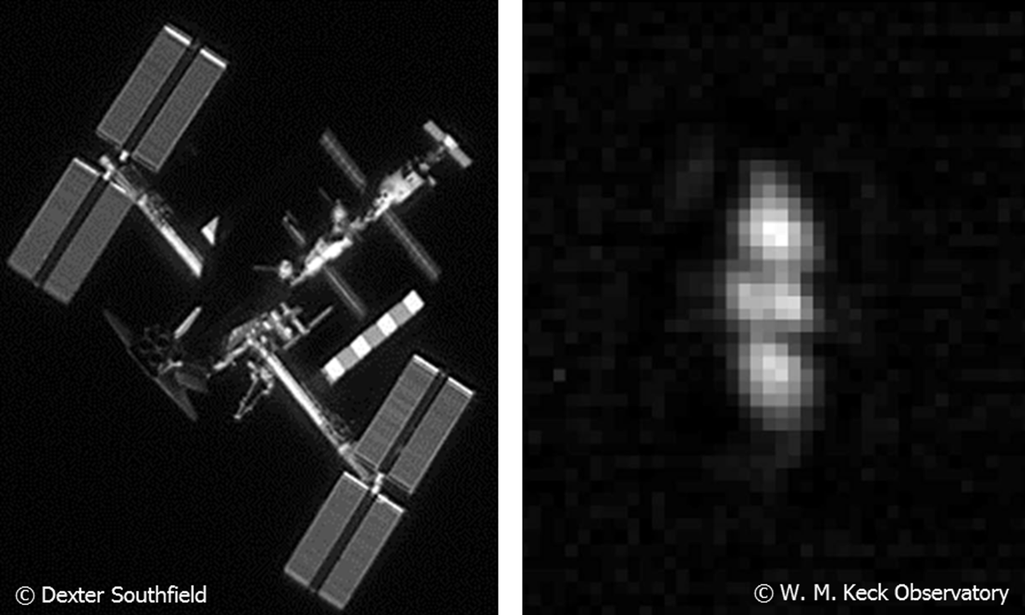 """Imagery of objects in low Earth orbit (left) compared with in geosynchronous Earth orbit – DARPA is seeking to develop ground-based imaging technologies that are """"up to 100 times more powerful than the current state of the art"""""""