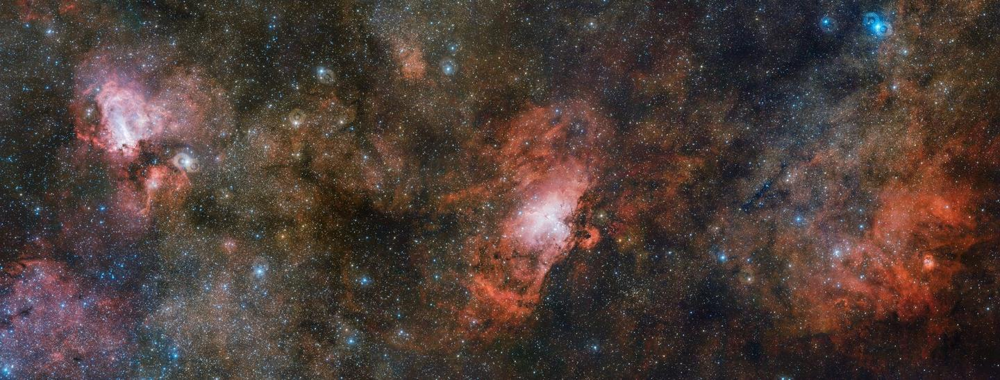The three star-formation regions captured in the new image represent only a portion of a far larger structure of interstellar dust and gas