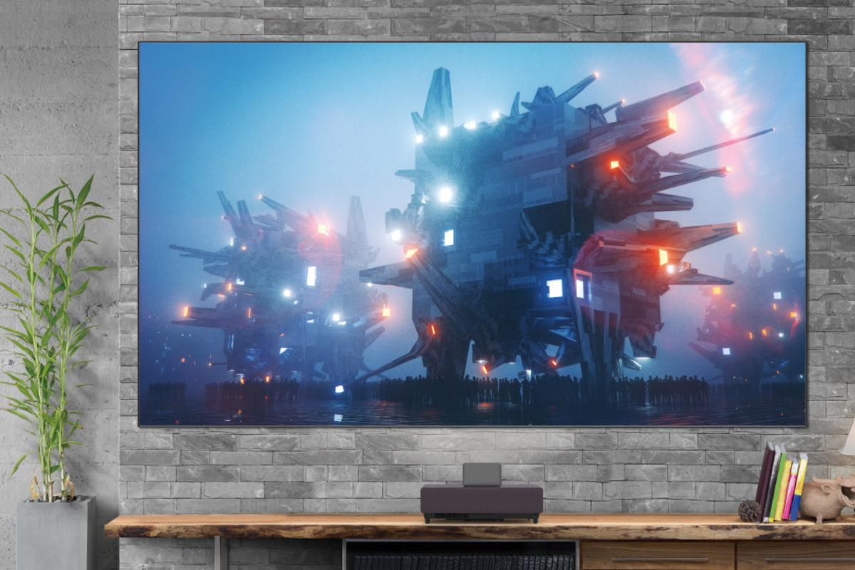 The LS500 comes with either a 100-inch or 120-inch screen so you don't have to throw movies to a bare wall
