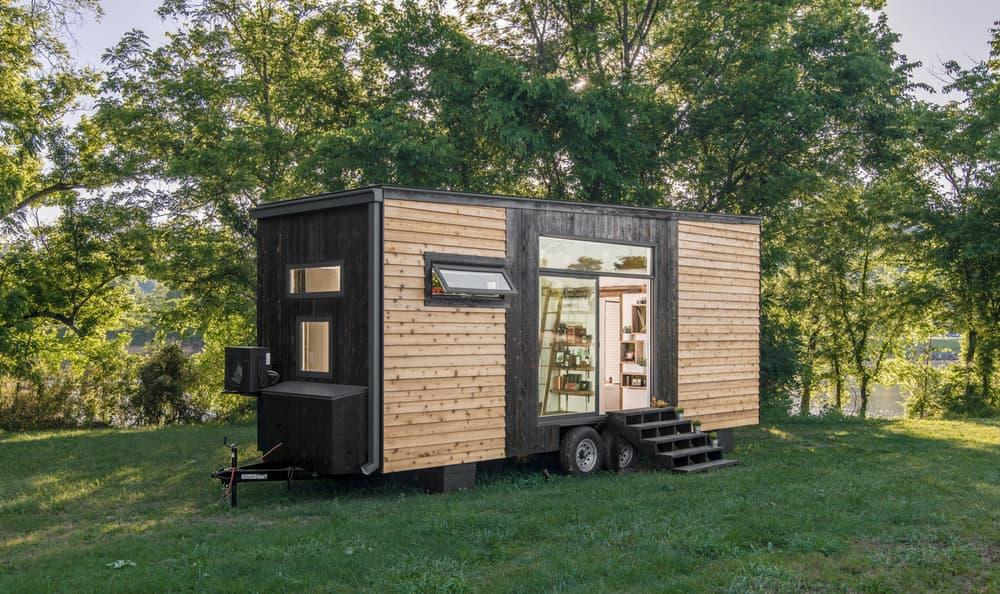 The miniature dwelling gets power from a standard RV hookup