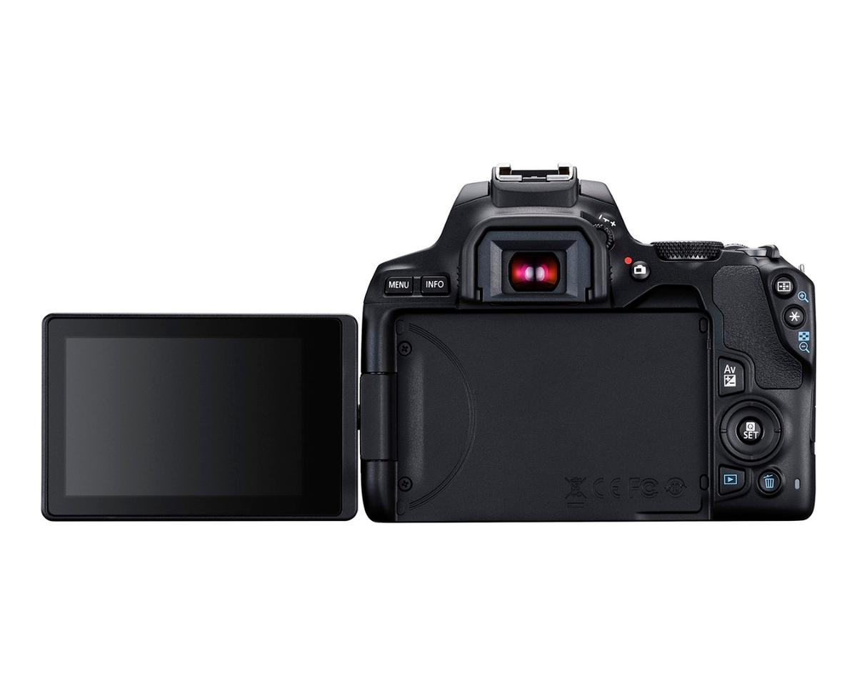 Framing up can be undertaken using the Rebel SL3'soptical viewfinder or the 3-inch, 1.04 million dot vari-angle LCD touchscreen panel