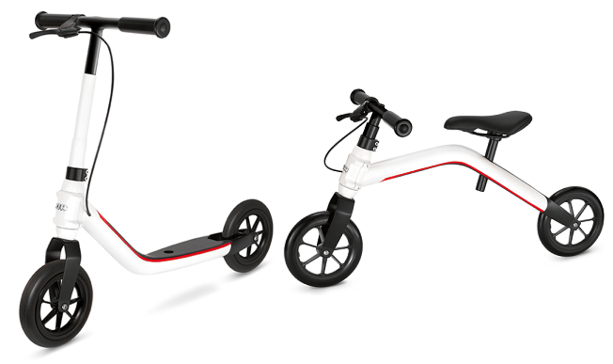 The Audi Mini Runner is a convertible kid's toy, being both a balance bike and a scooter