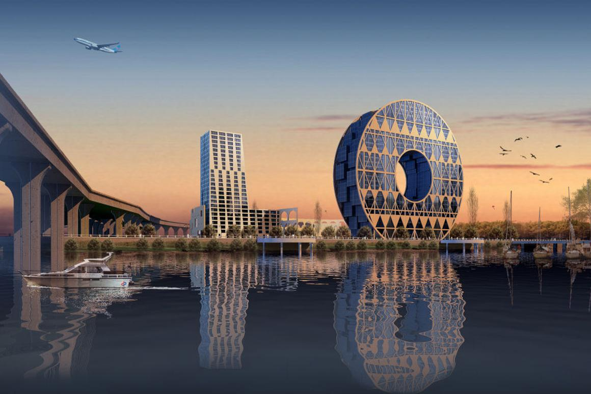 Artist's rendering of the GDPE project on the Guangzhou skyline