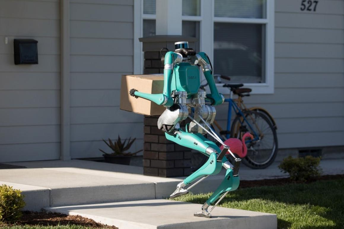 Ford's two-legged robot called Digitwould travel to a customer's address in a self-driving vehicle before hopping out to drop the package at the door