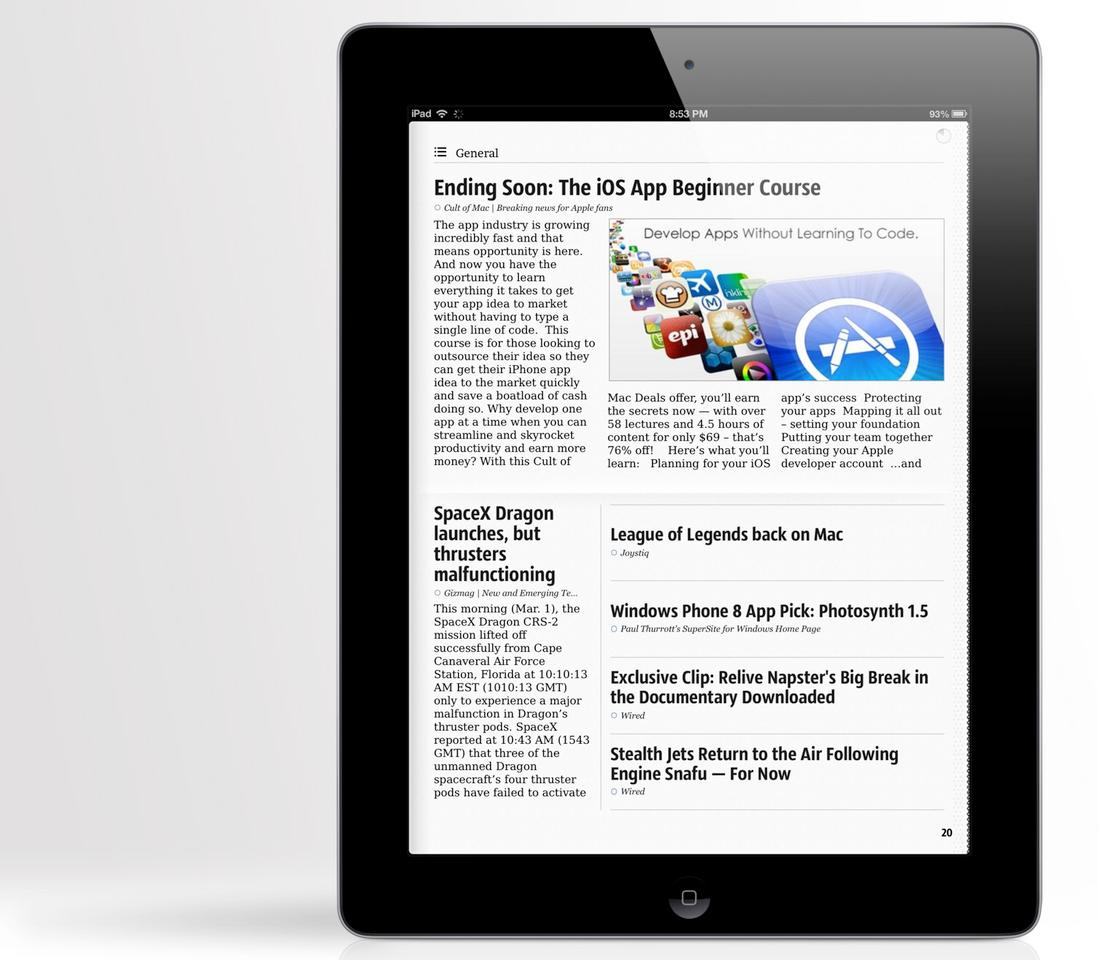 The Early Edition 2 delivers your news in a newspaper layout for the iPad