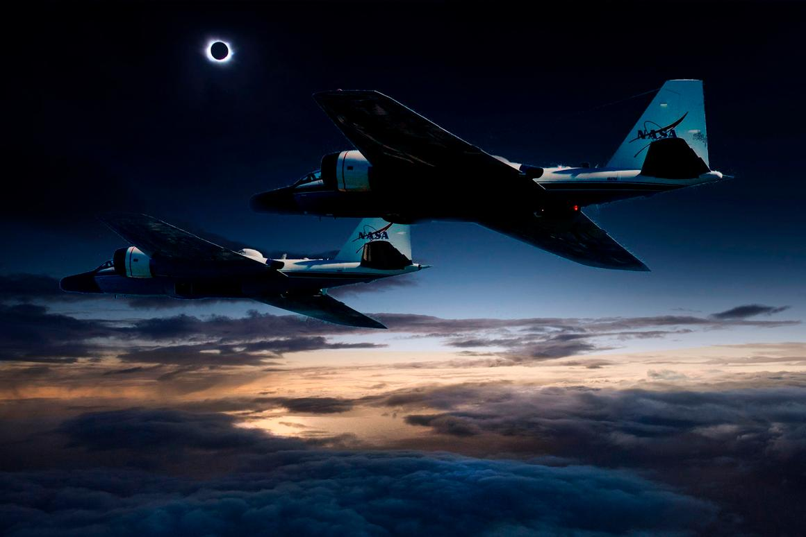 This won't be the first time NASA will be chasing an eclipse using its jets, as this composite image of the craft and the 2015 total solar eclipse at the Faroe Islands shows