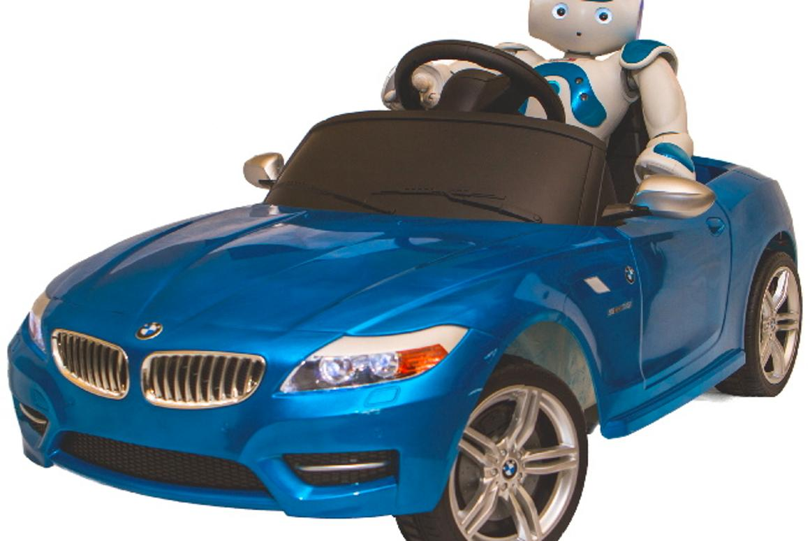 Both the robot and the car are available in blue or red