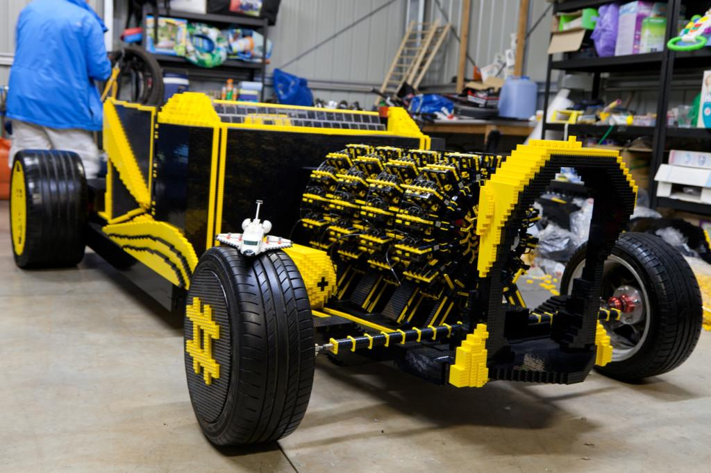 The Lego roadster's engineering and build dynamics are impressive given the medium