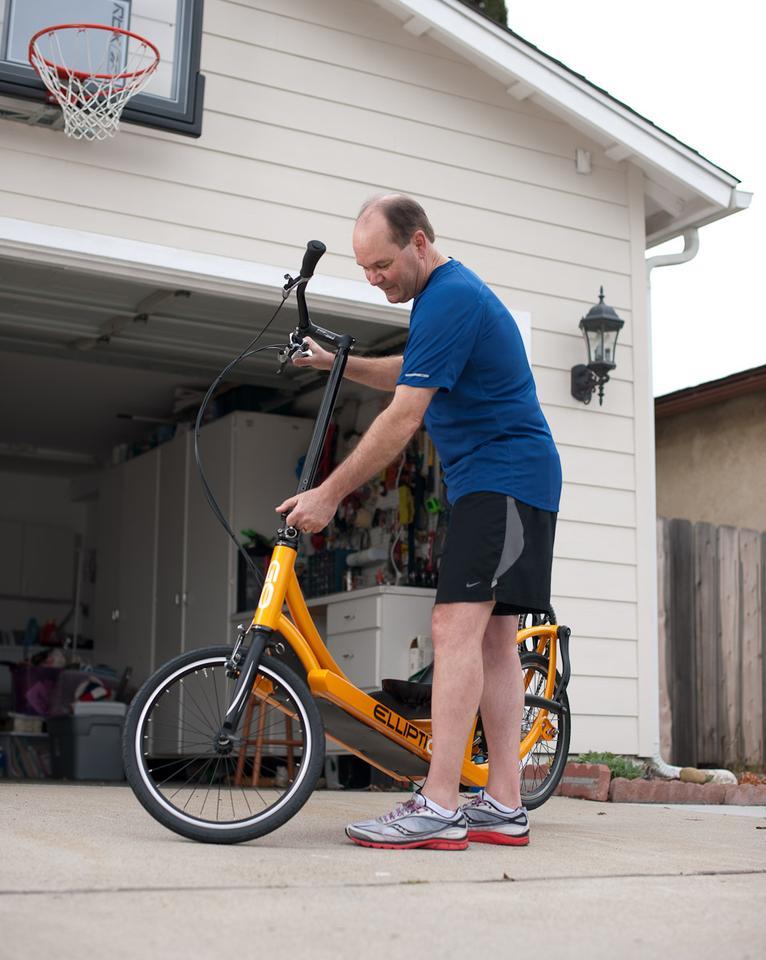 Getting ready to run and ride on the ElliptiGO 3C elliptical bicycle