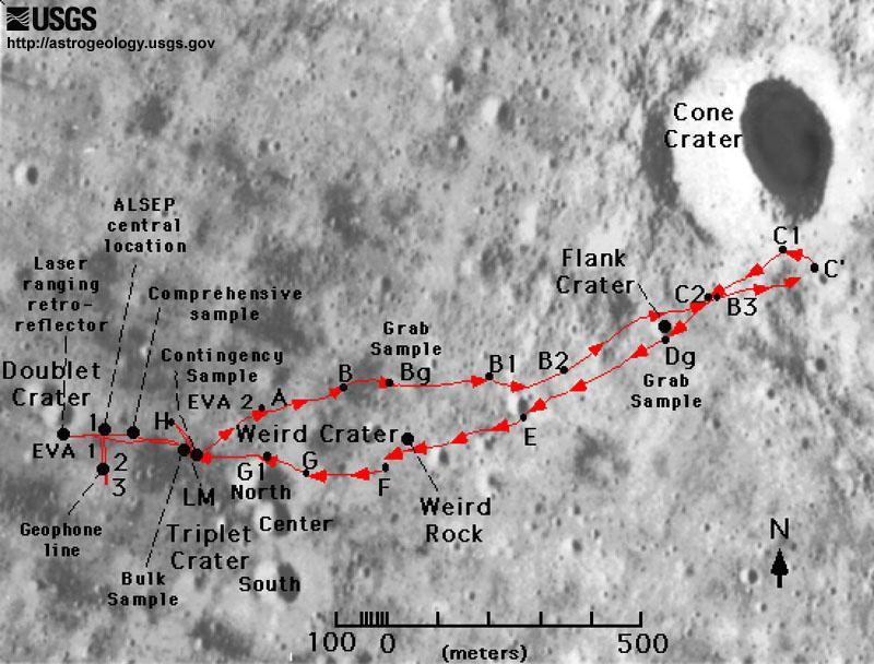 Apollo 14 EVA map