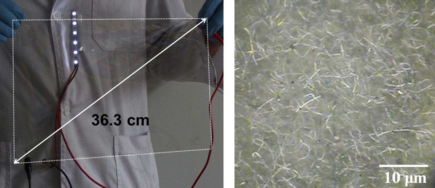 A researcher holds a large-scale version of the transparent film on the left, while the right side shows the silver nanoparticles under magnification