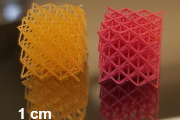 A hydrogel lattice, without (left) and with (right) a coating – the coating materials included nanoporous polystyrene and a polystyrene-polybutadiene blend