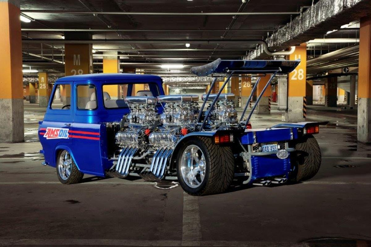 Just one of Gordon Tronson's many maniacal creations, this '62 Ford Econoline has four blown race engines in the back