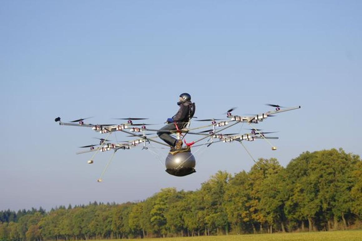 First-ever manned flight of an electric multicopter takes