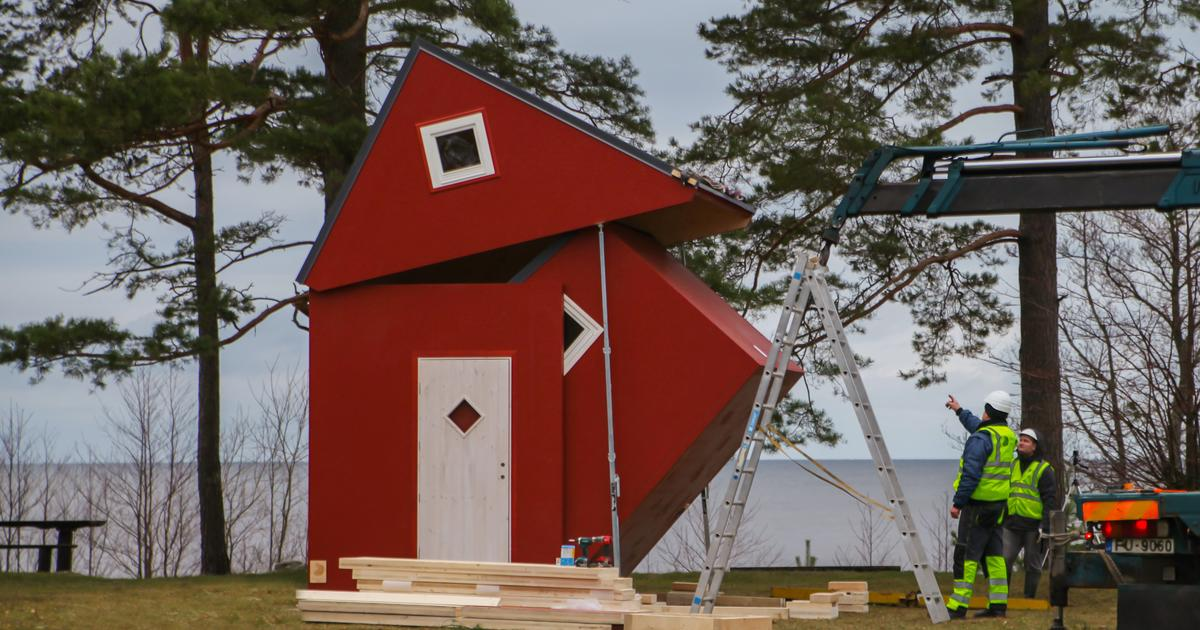 Folding tiny house tucks away for easy transportation