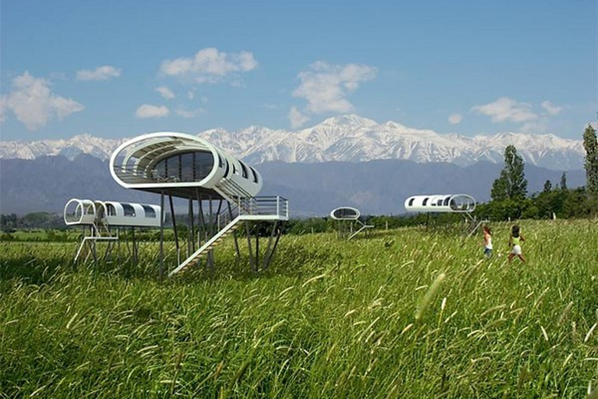 Located in Mendoza, Argentina amid 6,000 meter (19,685 feet) Andes, Entre Cielos is the unique home to a tree-hotel prototype that offers guest an exclusive escape hovering over lush green vines