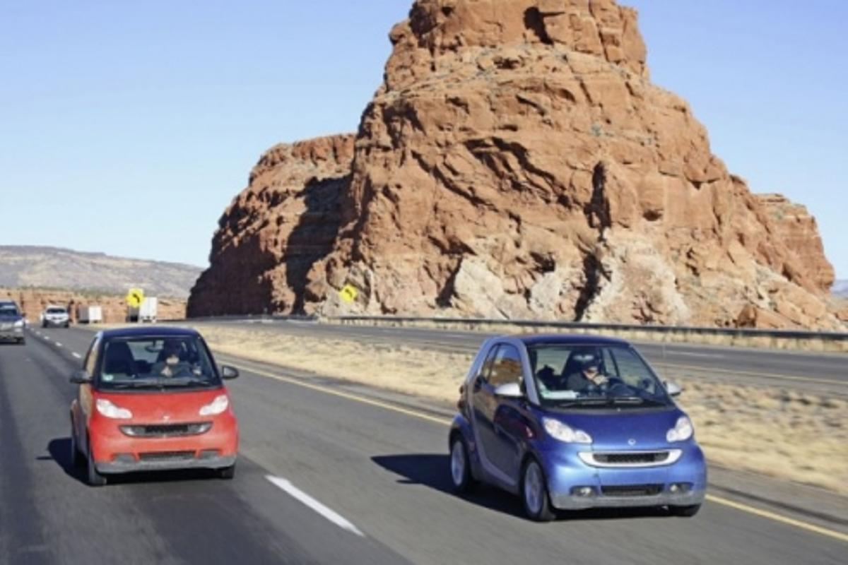 The fortwo models drove through highways, deserts, mountain passes and busy cities in snowy conditions