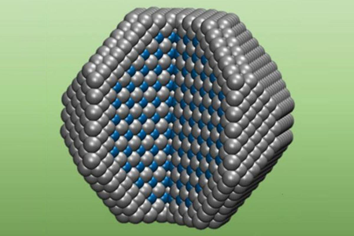 The new catalyst combines an outer shell of platinum atoms (gray spheres) with ordered layers of platinum and cobalt atoms (blue spheres) in its core