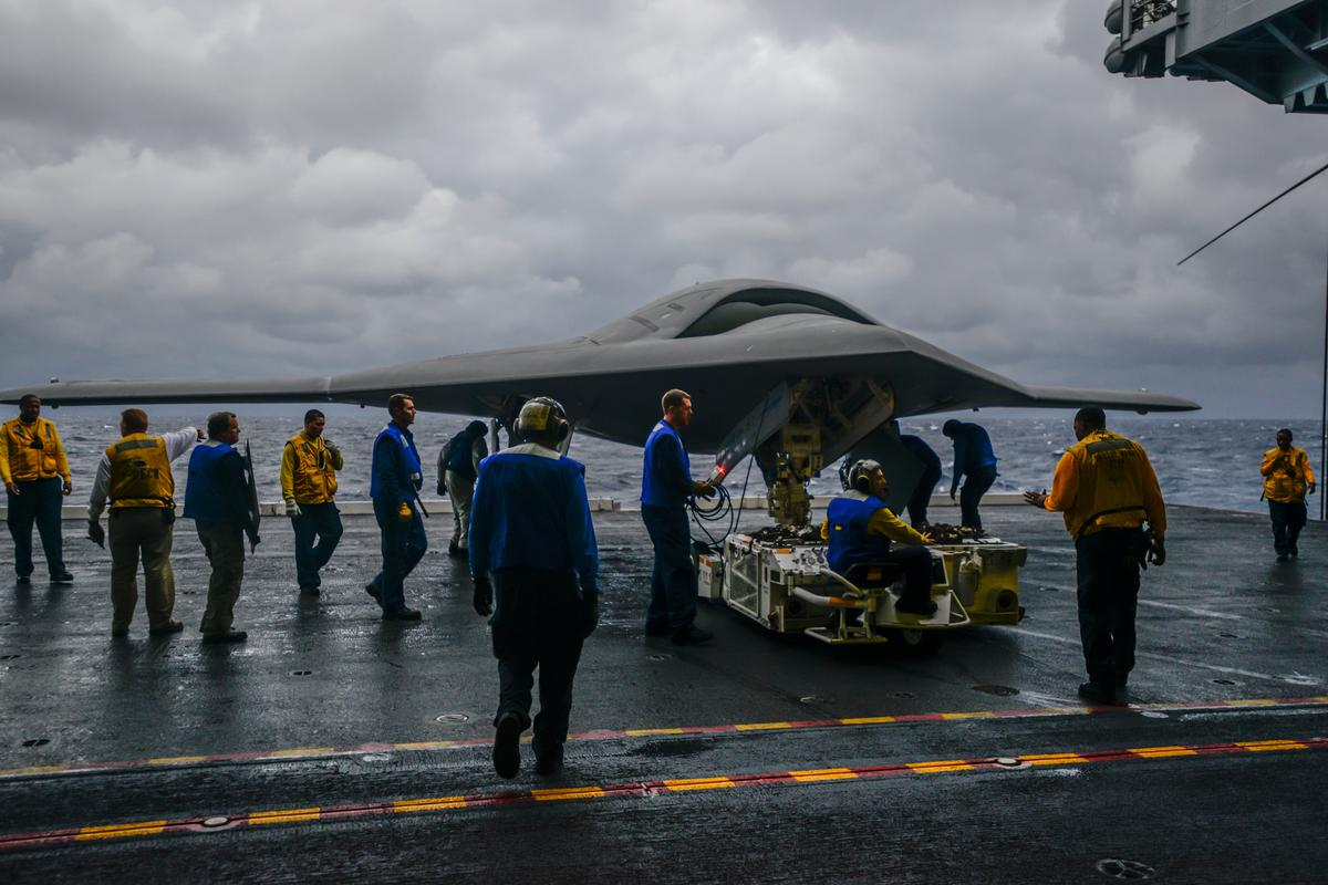 The Northrop Grumman X-47B aboard the USS Harry S. Truman