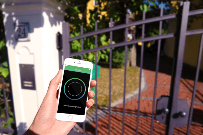 The Locumilabs monkey connects to a home's Wi-Fi network to allow mobile devices to communicate with intercoms for gated entry access