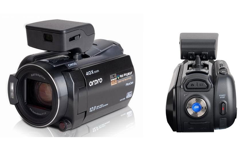 Ordro HDV-350S camcorder with in-built pico-projector