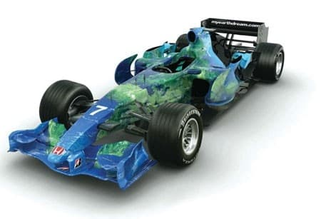 No, it's not an electric GP car - it's Honda's Earth Car. It ran in Formula One in 2007 and caused a furore due to its distinctly disingenuous livery. Maybe Honda will look to electric racing one day too
