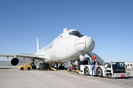 The ABL is incorporated into a modified Boeing 747-400, which flies from Edwards Air Force Base in California