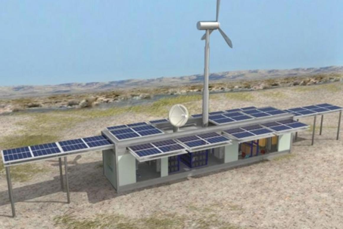 Ecosphere Technolgies' Ecos LifeLink system, with fully deployed solar panels and wind turbine attached