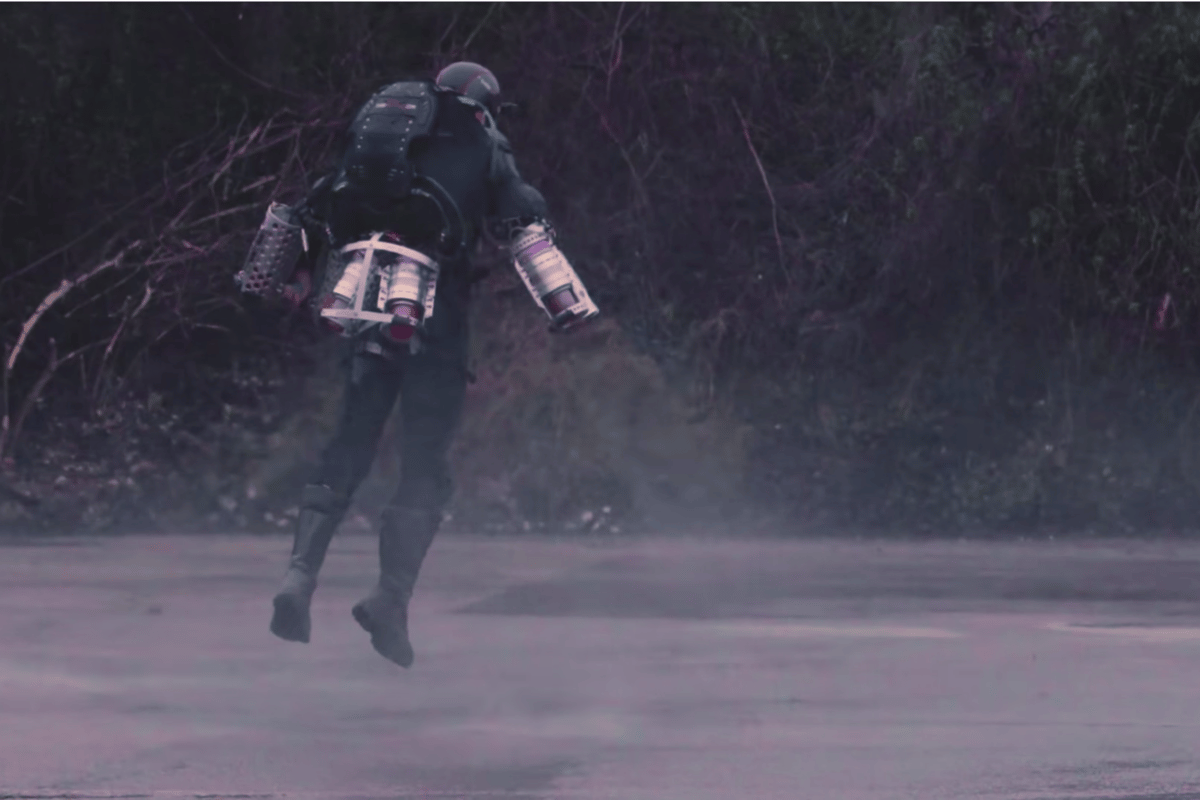 Gravity founder Richard Browning lifts off in the Daedalus flight suit