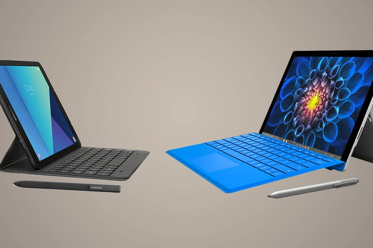 Comparing Samsung's new Android-running tablet with the MicrosoftSurface Pro 4