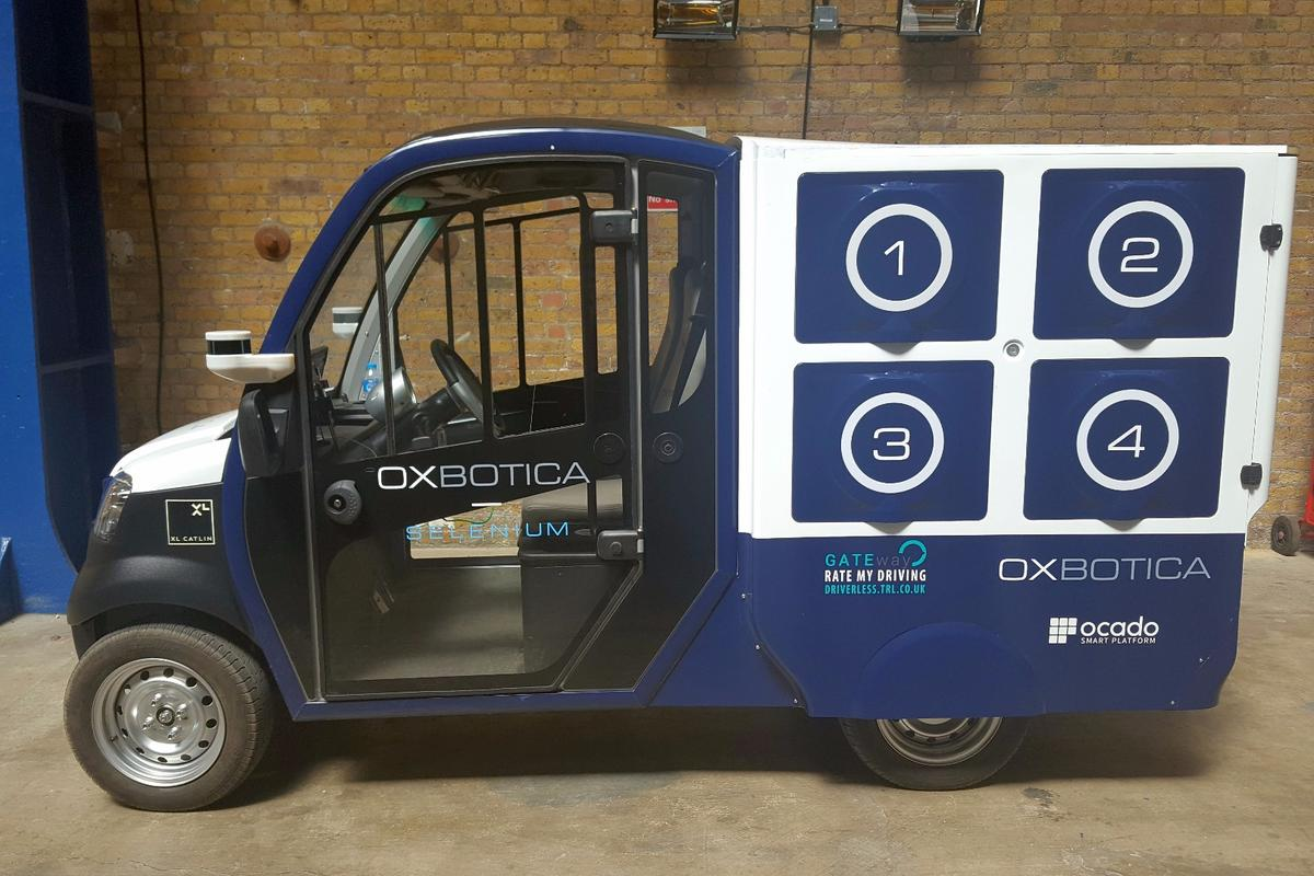 The electric CargoPod was developed for the Ocado trial by Oxbotica