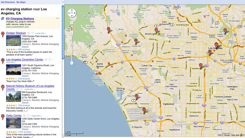 EV charging station locations near Los Angeles CA.