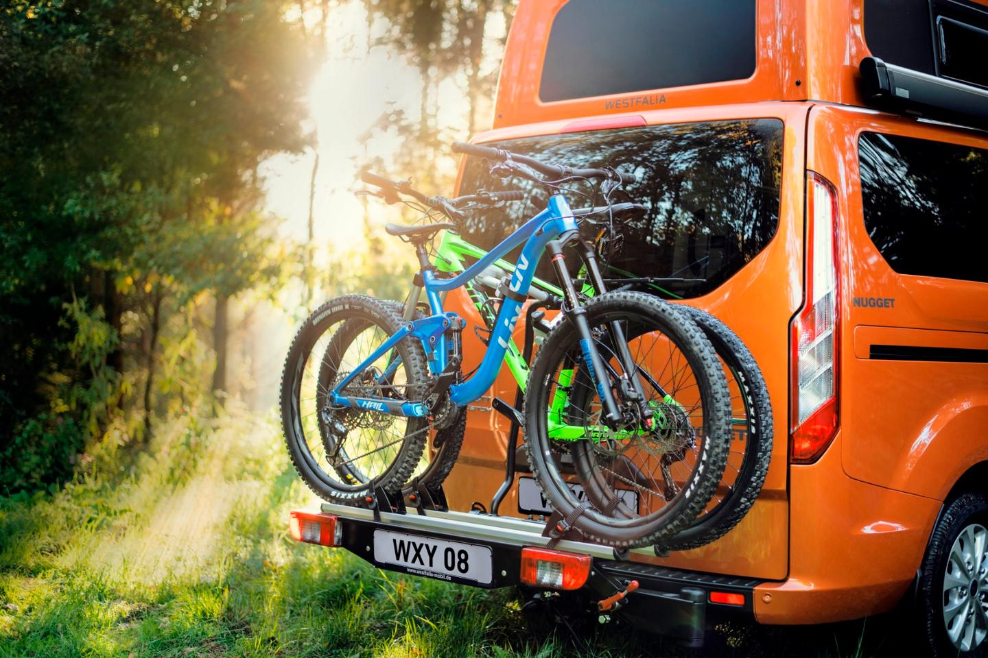 Available bicycle carrier on the Ford Nugget camper van