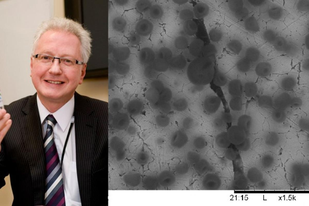 Cella Energy CEO Stephen Voller exhibits his breakthrough technology - right shows the fuel's hydrogen microbeads under a microscope