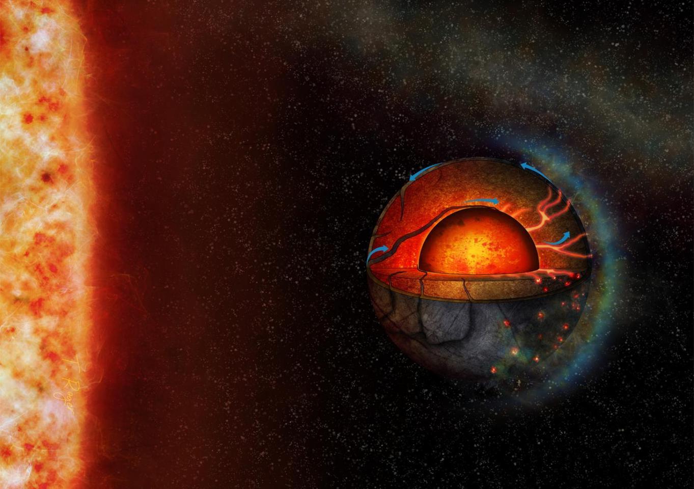 Artist's impression of exoplanet LHS 3844b