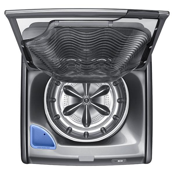 The clothing and the wash water can be emptied into the activewash's main drum via an opening at the back of the sink