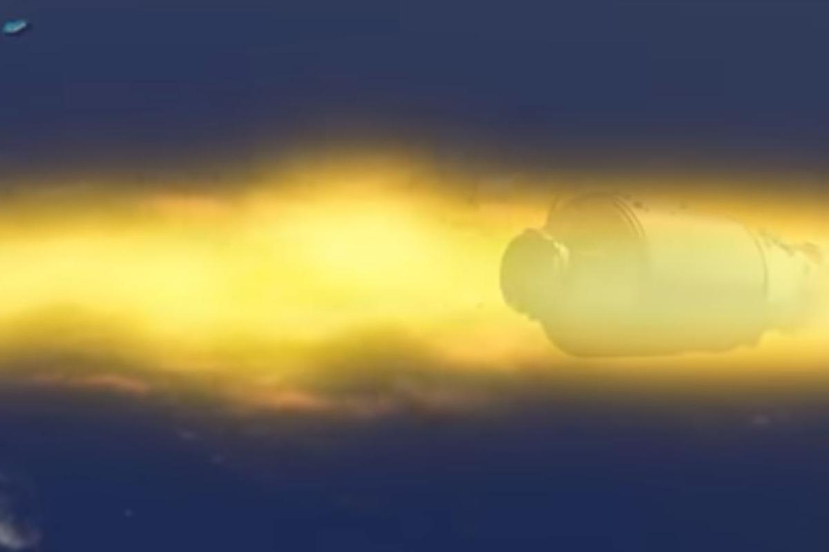 Artist's impression of Tiangong-1 burning up on reentry