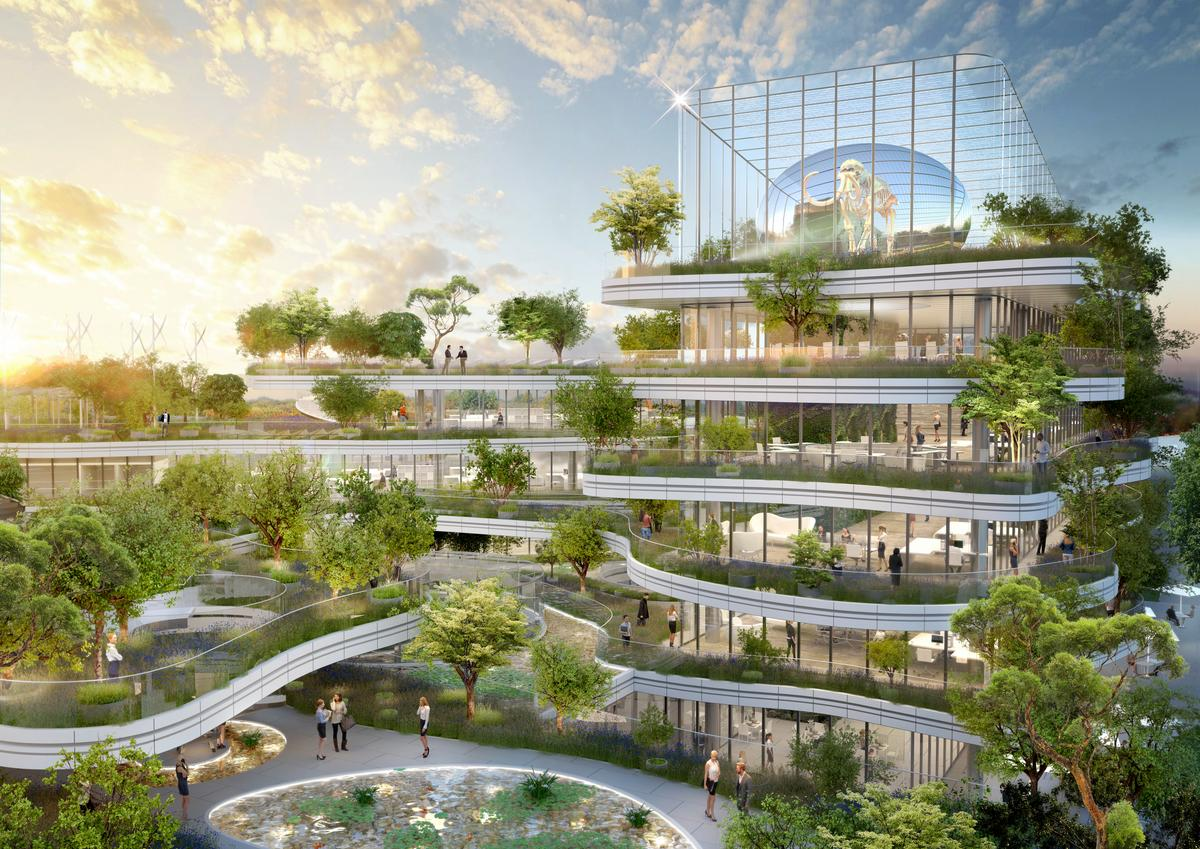 The overall form of the Semaphorebuilding is inspired by a terraced rice field