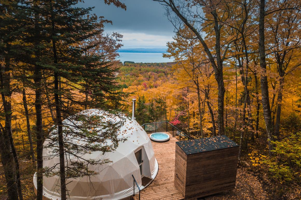 Dômes Charlevoix located in Petite-Rivière-Saint-François, Quebec, Canada features a series gorgeous eco-luxury geodesic domes