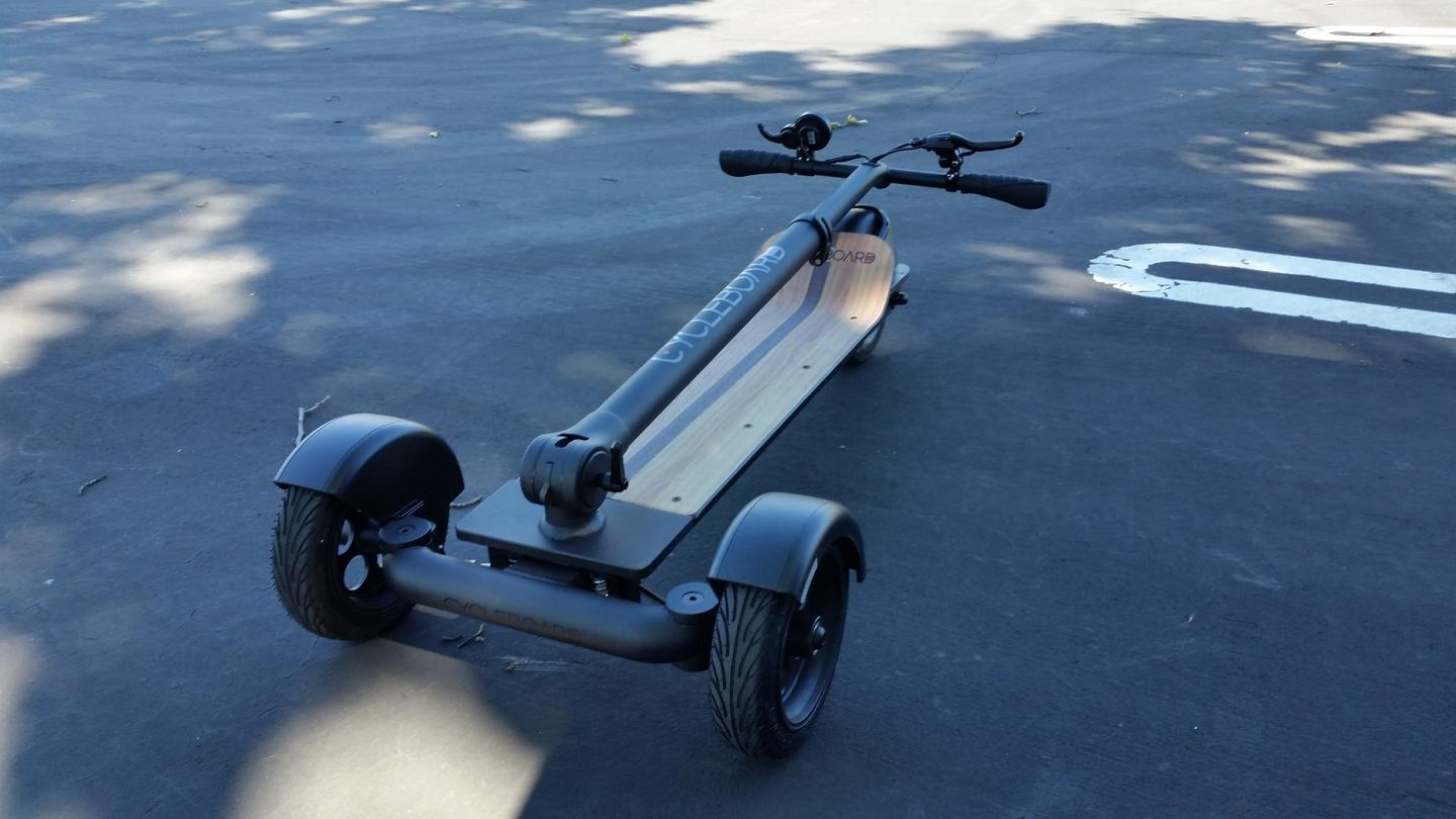 The CycleBoard folds down into a compact shape
