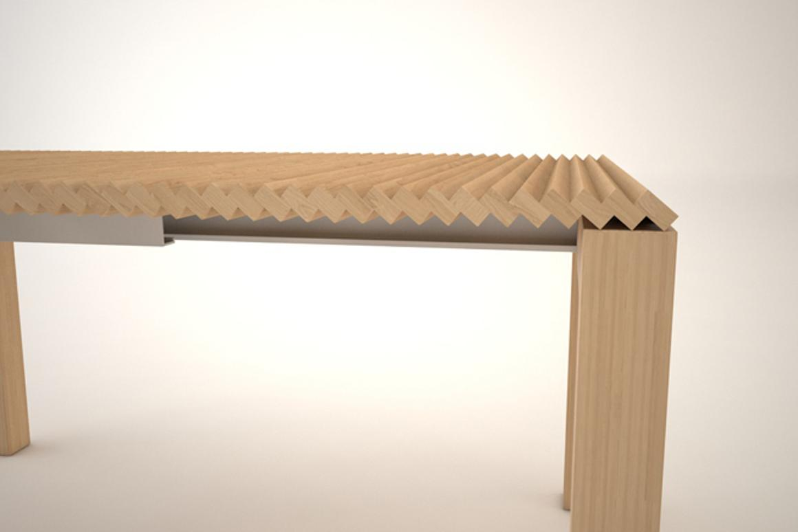 The sections of the table fold, allowing it to expand without leafs